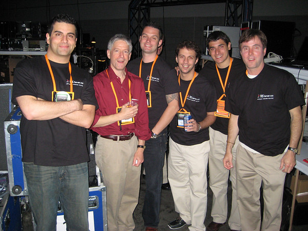 Good times backstage - me, Dave, Zach, Johnny, Lito, and Tim